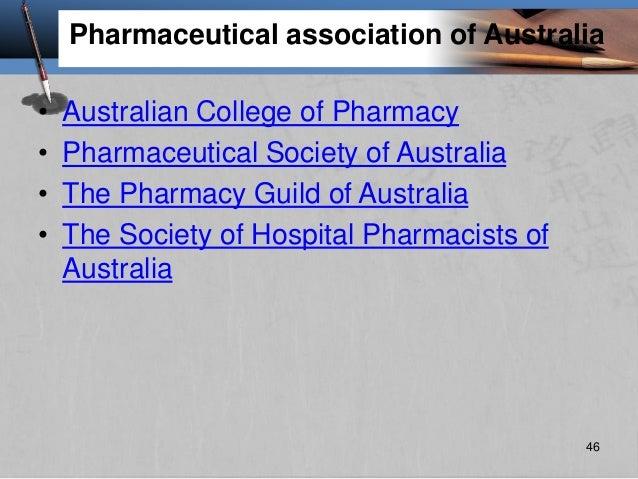 Pharmaceutical association of Australia • Australian College of Pharmacy • Pharmaceutical Society of Australia • The Pharm...