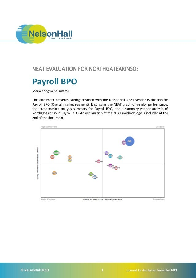 NEAT EVALUATION FOR NORTHGATEARINSO:  Payroll BPO Market Segment: Overall This document presents NorthgateArinso with the ...