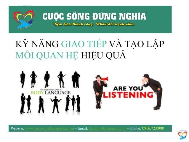KỸ NĂNG GIAO TIẾP VÀ TẠO LẬP MỐI QUAN HỆ HIỆU QUẢ Website: www.cuocsongdungnghia.com – Email: daotao@kynang.edu.vn – Phone...