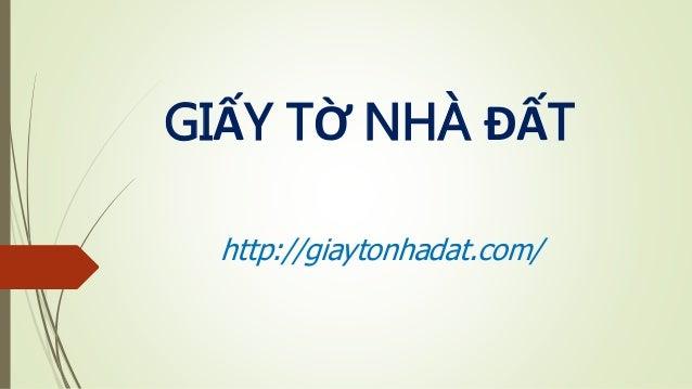 GIẤY TỜ NHÀ ĐẤT http://giaytonhadat.com/