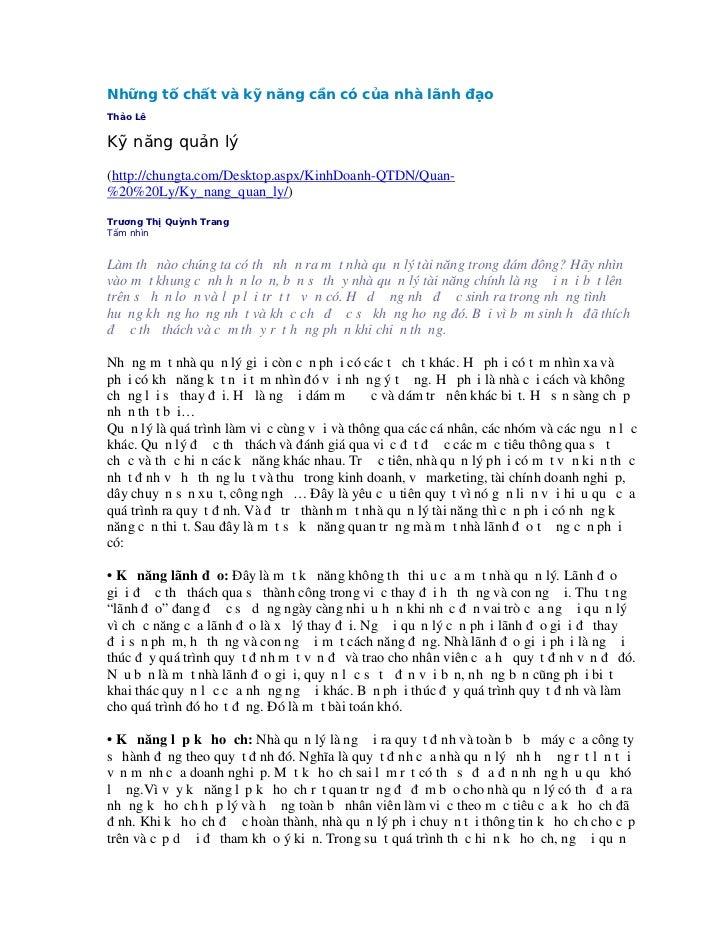 Những tố chất và kỹ năng cần có của nhà lãnh đạoThảo LêKỹ năng quản lý(http://chungta.com/Desktop.aspx/KinhDoanh-QTDN/Quan...