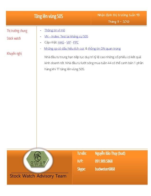 Tăng lên vùng 505  Nhận định thị trường tuần 45 Tháng 11 - 2013  Thị trường chung  -  Thông tin vĩ mô  Stock watch  -  VN ...