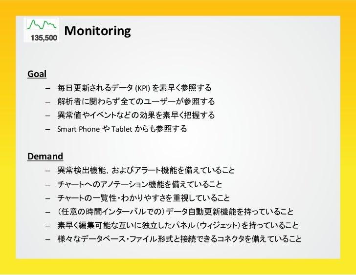 Monitoring Example: Metricinsights        – アラート・アノテーション機能        – 1つ1つのパネル(ウィジェット)にクエリを埋め込める        – { ク...