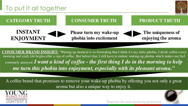 To put it all together CATEGORY TRUTH  CONSUMER TRUTH  INSTANT ENJOYMENT  Please turn my wake-up phobia into excitement  P...