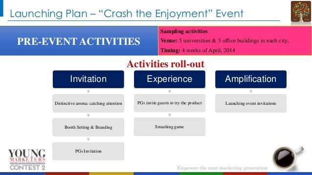 "Launching Plan – ""Crash the Enjoyment"" Event Sampling activities  PRE-EVENT ACTIVITIES  Venue: 5 universities & 5 office b..."