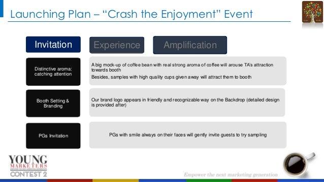 "Launching Plan – ""Crash the Enjoyment"" Event Invitation Distinctive aroma: catching attention  Booth Setting & Branding  P..."