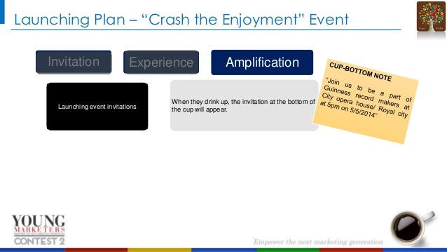 """Launching Plan – """"Crash the Enjoyment"""" Event Invitation  Experience  Launching event invitations  Amplification  When they..."""