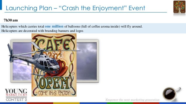 """Launching Plan – """"Crash the Enjoyment"""" Event 7h30 am Helicopters which carries total one million of balloons (full of coff..."""