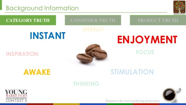 Background Information CATEGORY TRUTH  INSTANT  CONSUMER TRUTH  PRODUCT TRUTH  ENERGY  ENJOYMENT FOCUS  INSPIRATION  STIMU...