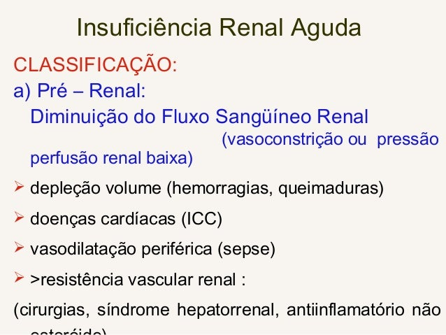 Insuficiência Renal Aguda CLASSIFICAÇÃO Renais  vasculares (oclusão da artéria renal).  glomerulares (GNDA).  tubulares...