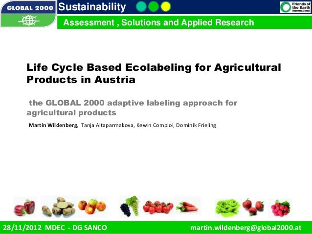 Sustainability                    Assessment , Solutions and Applied Research      Life Cycle Based Ecolabeling for Agricu...