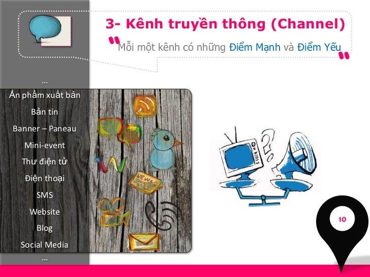 3- Kênh truyền thông (Channel)                    Mỗi một kênh có những Điểm Mạnh và Điểm Yếu       …Ấn phẩm xuất bản    B...