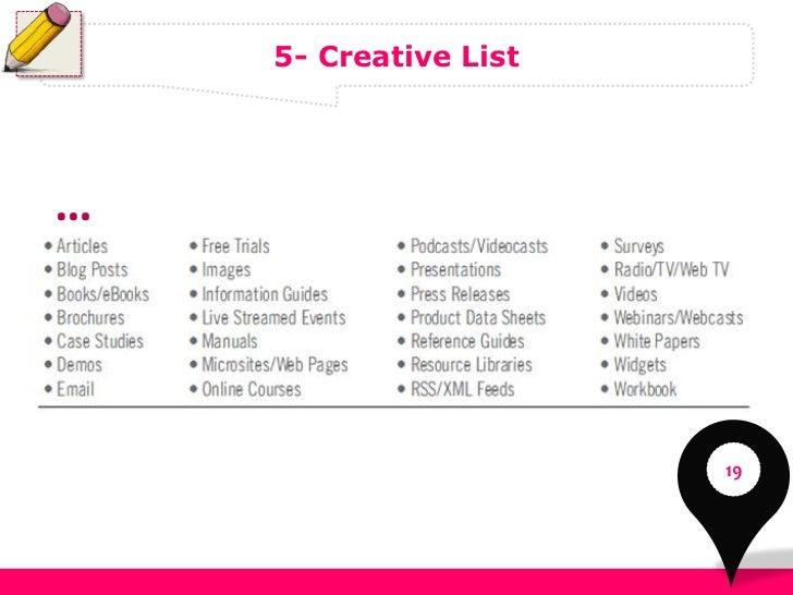 5- Creative List…                       19