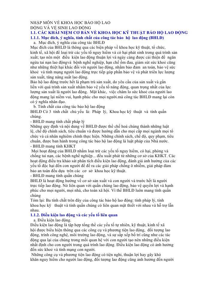 NHẬP MÔN VỀ KHOA HỌC BẢO HỘ LAOĐỘNG VÀ VỆ SINH LAO ĐỘNG1.1. CÁC KHÁI NIỆM CƠ BẢN VỀ KHOA HỌC KỸ THUẬT BẢO HỘ LAO ĐỘNG1.1.1...