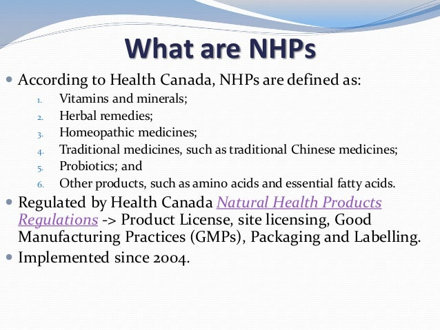 Health Canada Natural Health Products Site License