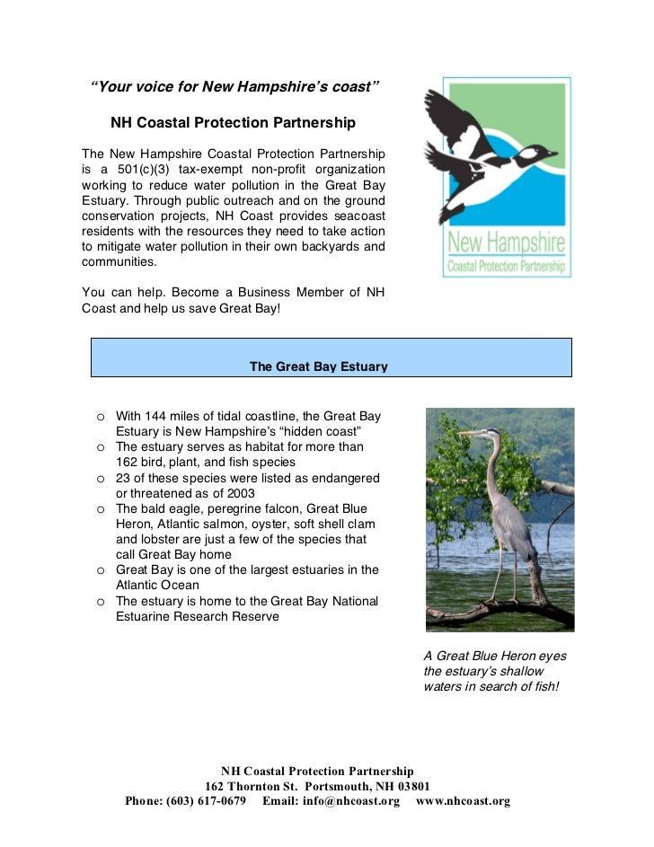"""Your voice for New Hampshire's coast""      NH Coastal Protection PartnershipThe New Hampshire Coastal Protection Partners..."