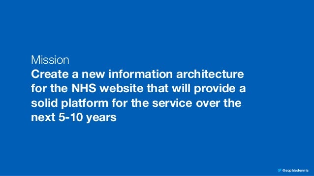 @sophiedennis Mission Create a new information architecture for the NHS website that will provide a solid platform for the...