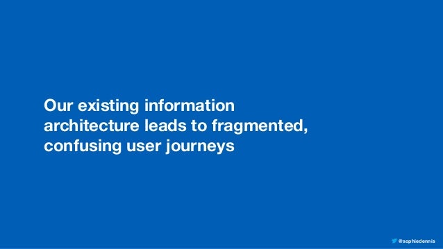 @sophiedennis Our existing information architecture leads to fragmented, confusing user journeys
