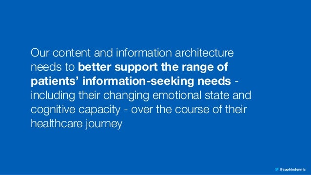 @sophiedennis Our content and information architecture needs to better support the range of patients' information-seeking ...