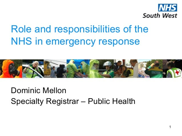 1Role and responsibilities of theNHS in emergency responseDominic MellonSpecialty Registrar – Public Health
