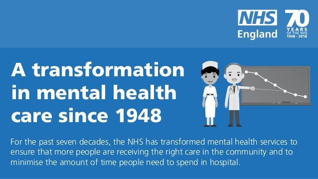 For the past seven decades, the NHS has transformed mental health services to ensure that more people are receiving the ri...