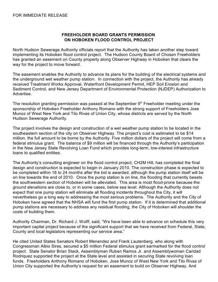 FOR IMMEDIATE RELEASE                               FREEHOLDER BOARD GRANTS PERMISSION                             ON HOBO...