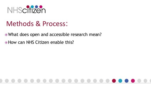 Methods & Process:  What does open and accessible research mean?  How can NHS Citizen enable this?