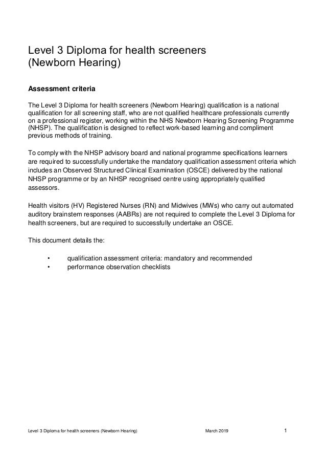 NHSP health screener diploma observation checklists March 2019