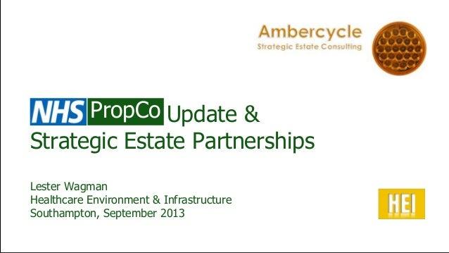 Update & Strategic Estate Partnerships Lester Wagman Healthcare Environment & Infrastructure Southampton, September 2013 P...