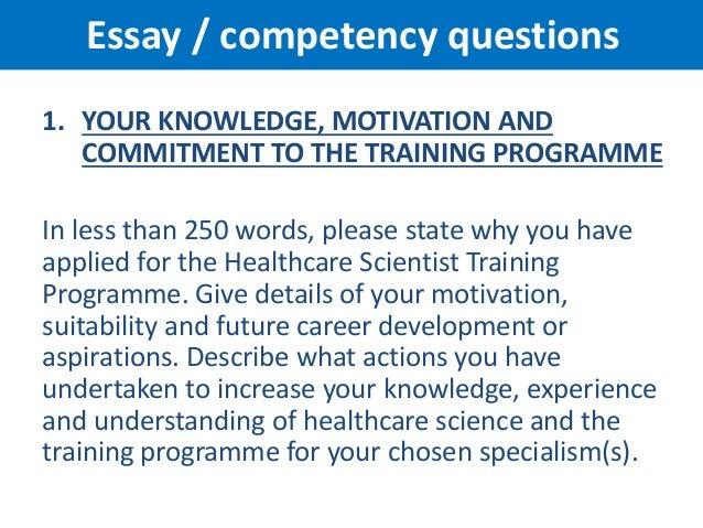 Nhs scientist training programme essay questions