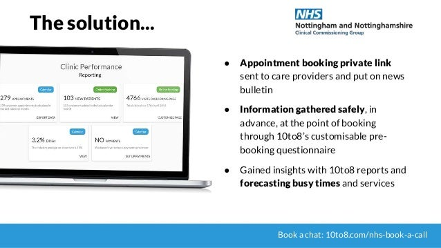 The solution... ● Appointment booking private link sent to care providers and put on news bulletin ● Information gathered ...