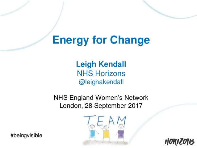 Energy for Change Leigh Kendall NHS Horizons @leighakendall NHS England Women's Network London, 28 September 2017 #beingvi...