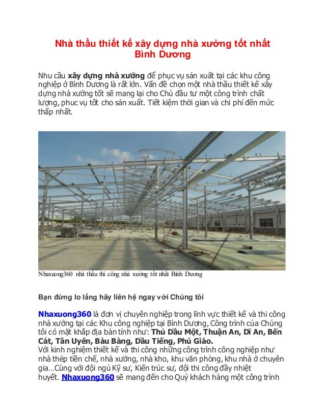 Nhà thầu thiết kế xây dựng nhà xưởng tốt nhất Bình Dương Nhu cầu xây dựng nhà xưởng để phục vụ sản xuất tại các khu công n...