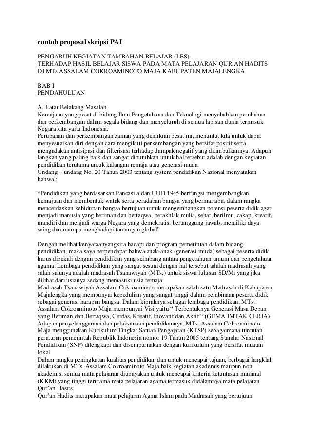 contoh proposal skripsi PAIPENGARUH KEGIATAN TAMBAHAN BELAJAR (LES)TERHADAP HASIL BELAJAR SISWA PADA MATA PELAJARAN QUR'AN...