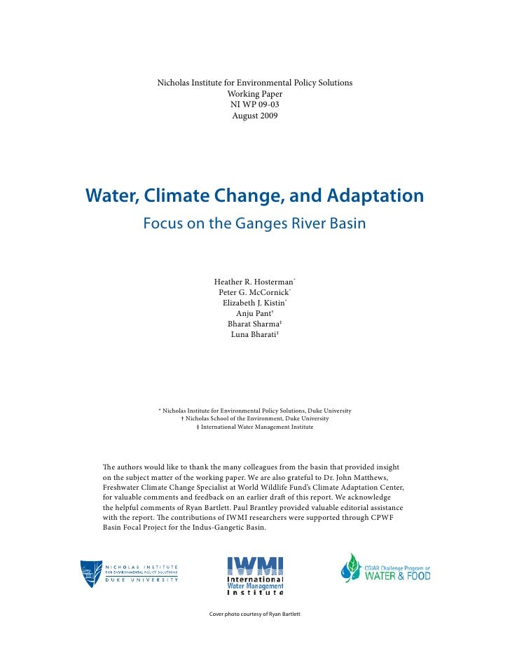 India; Water, Climate Change, and Adaptation in the Ganges ...
