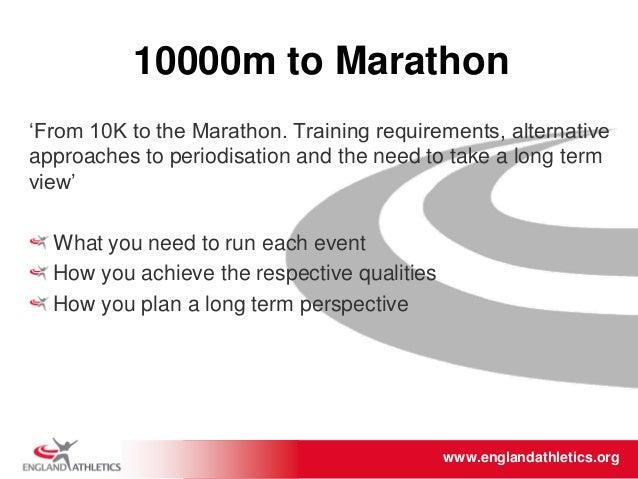 www.englandathletics.org/east www.englandathletics.org 10000m to Marathon 'From 10K to the Marathon. Training requirements...