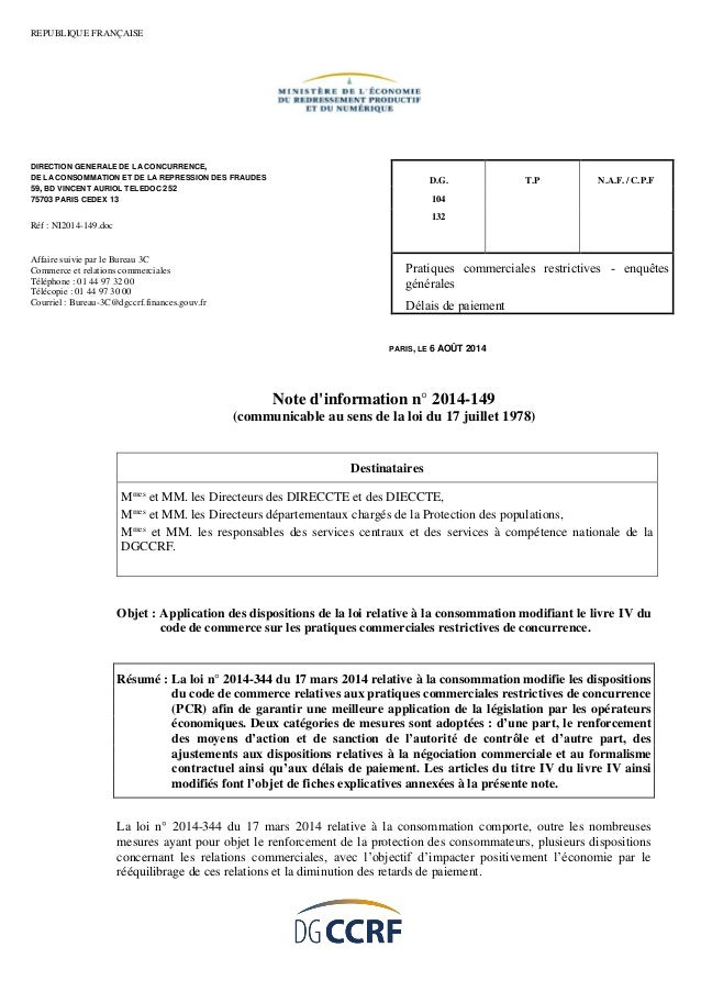 Note d'information n° 2014-149 (communicable au sens de la loi du 17 juillet 1978)  Destinataires  Mmes et MM. les Directe...