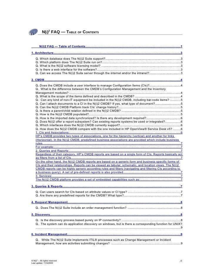 N(I)2 FAQ — TABLE OF CONTENTS            N(i)2 FAQ — Table of Contents.......................................................