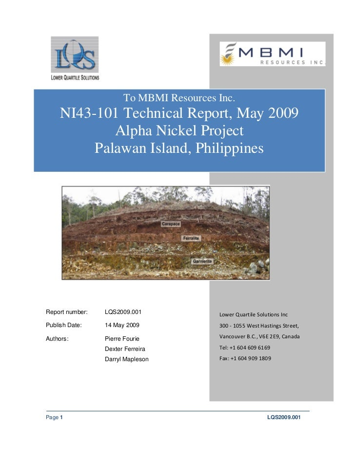 To MBMI Resources Inc.     NI43-101 Technical Report, May 2009             Alpha Nickel Project          Palawan Island, P...
