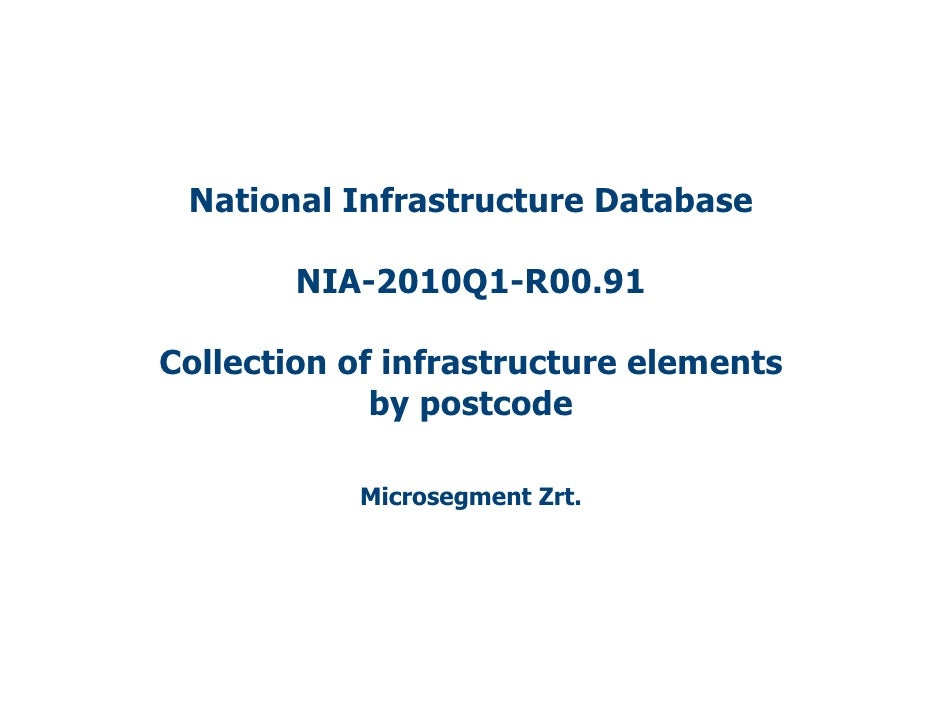National Infrastructure Database          NIA-2010Q1-R00.91  Collection of infrastructure elements              by postcod...