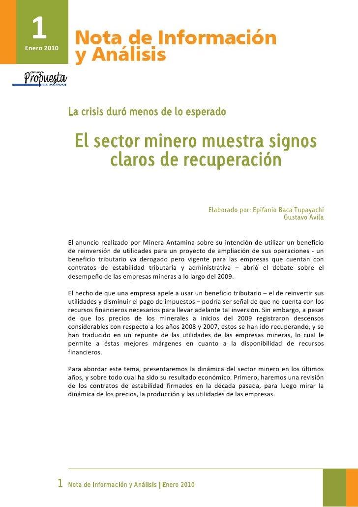 1     Enero2010                         La crisis duró menos de lo esperado                          El secto...