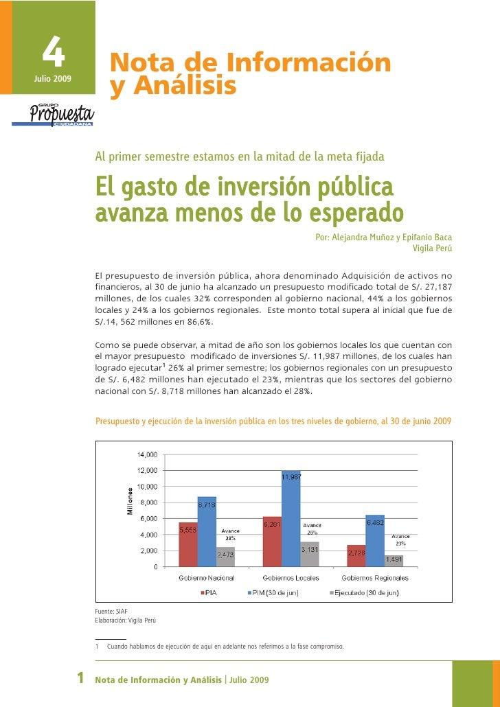 4 Julio 2009                       Nota de Información                       y Análisis                   Al primer semest...