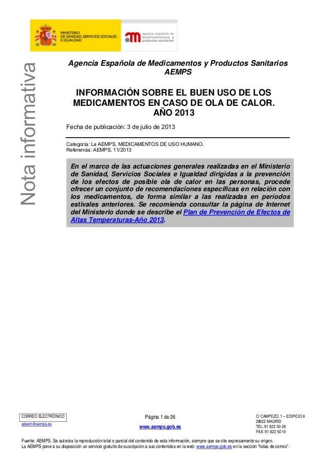 Notainformativa Agencia Española de Medicamentos y Productos Sanitarios AEMPS INFORMACIÓN SOBRE EL BUEN USO DE LOS MEDICAM...