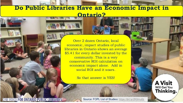 Source: Nordicity's BRIDGE Report: Are Ontario's Public Libraries Community Hubs? A 2018 Nordicity study found that, just ...