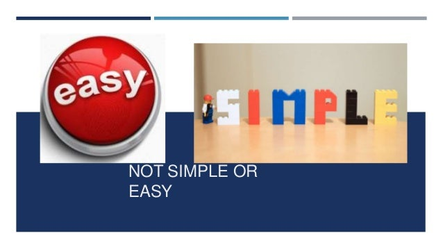 NOT SIMPLE OR EASY NOT SIMPLE OR EASY