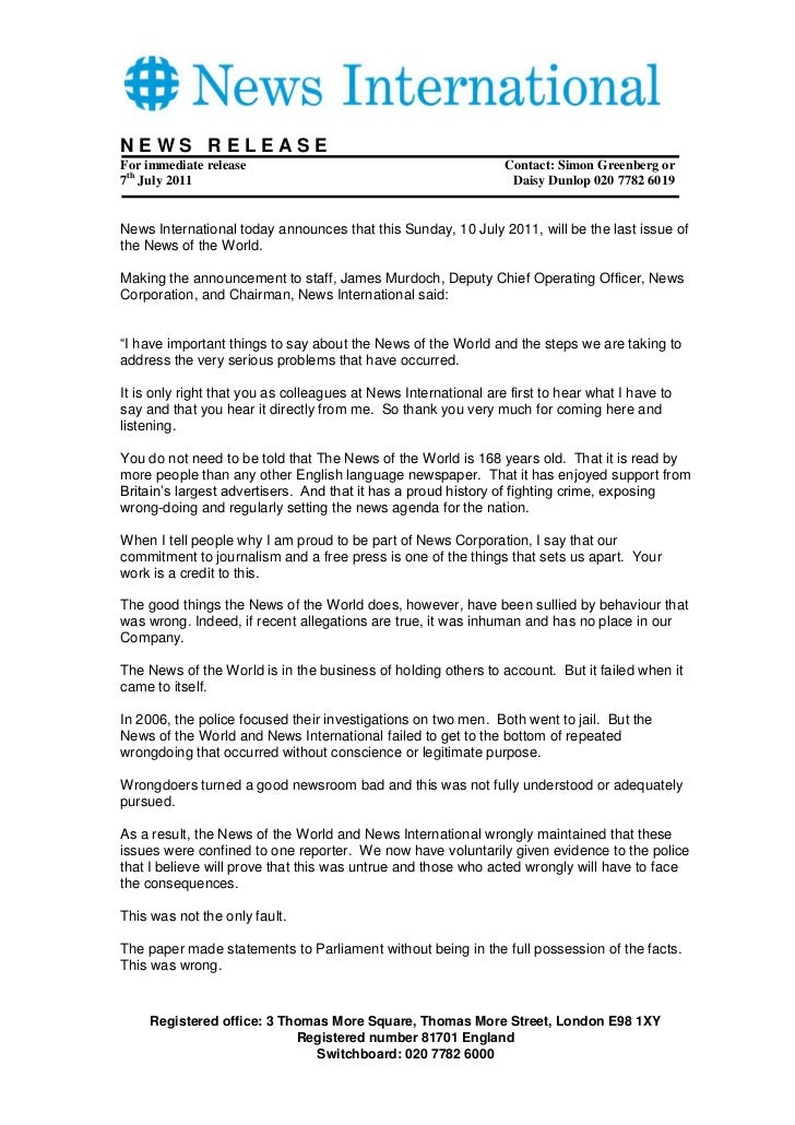 NEWS RELEASEFor immediate release                                            Contact: Simon Greenberg or7th July 2011     ...