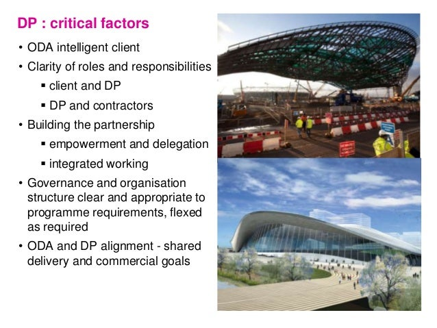 DP : critical factors • ODA intelligent client • Clarity of roles and responsibilities  client and DP  DP and contractor...