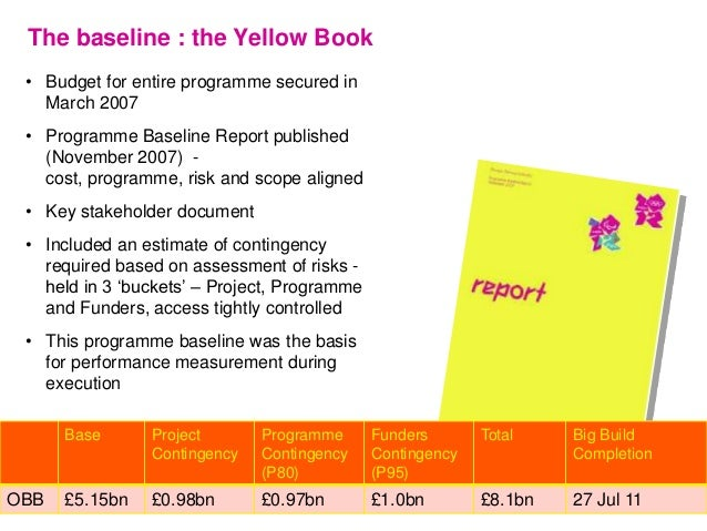 The baseline : the Yellow Book • Budget for entire programme secured in March 2007 • Programme Baseline Report published (...