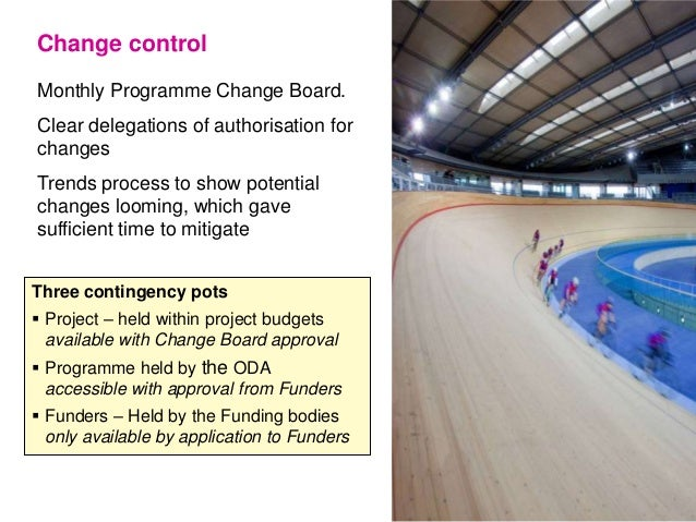 Monthly Programme Change Board. Clear delegations of authorisation for changes Trends process to show potential changes lo...