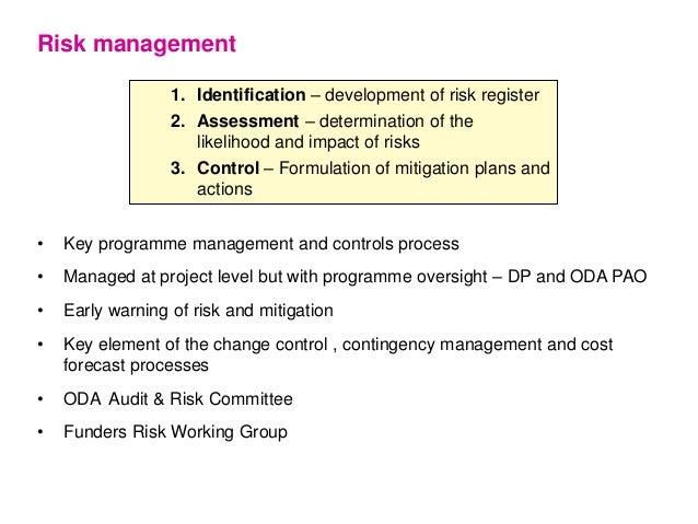 1. Identification – development of risk register 2. Assessment – determination of the likelihood and impact of risks 3. Co...